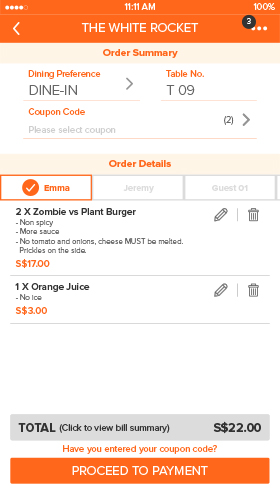 Mobile ordering by Dining Butler  Complete diner to kitchen